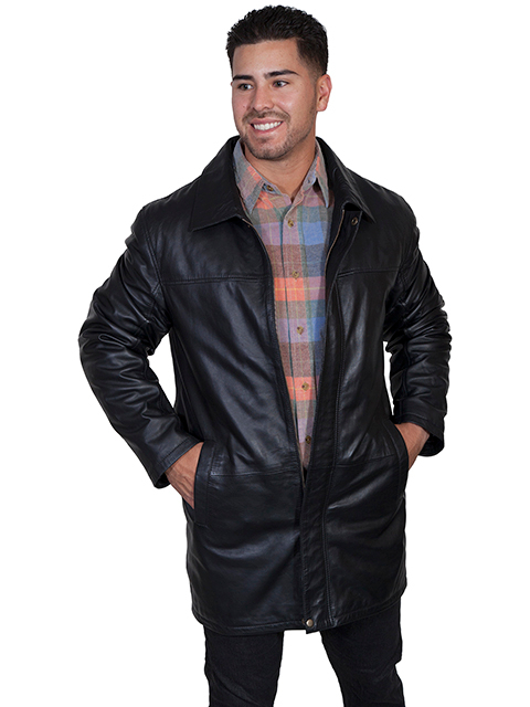 Mens Scully Black Lambskin Leather Long Zip Up Coat. Available in large mens size. This long lambskin leather coat is of the highest quality hand spun lambskin. This beautify mens black lambskin coat keeps you warm