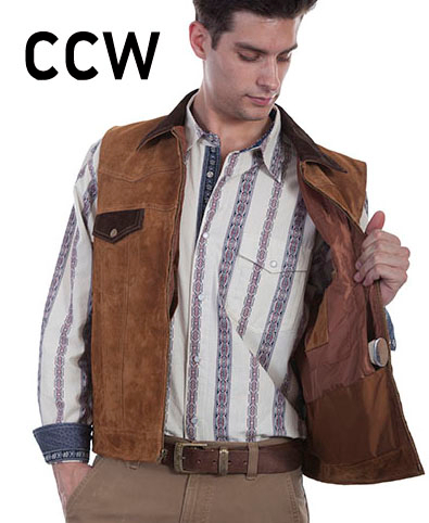 This handsome Mens Scully Brown Suede Concealed Carry Western Vest front closure with brown suede collar and 2 chest flap pockets with 2 lower side entry gun pockets and inside concealed gun carry pocket.