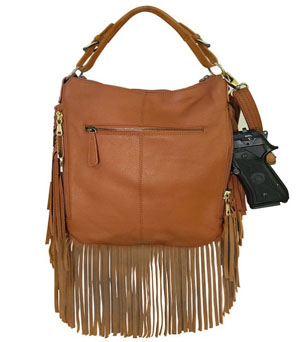 This Brown Fringe Leather Western CCW Handbag Purse with Holster for the cowgirl who wants to show her style yet be protected. This CCW Fringe Western Purse is perfect for your concealed needs with a real gun holster