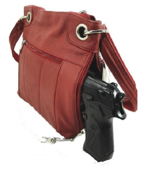 "Our ""JO"" Women's Red Leather Concealed Carry Purse with Holster has an actual Holster that means no printing on your purse. No printing with this included gun holster for your leather concealed handbag."