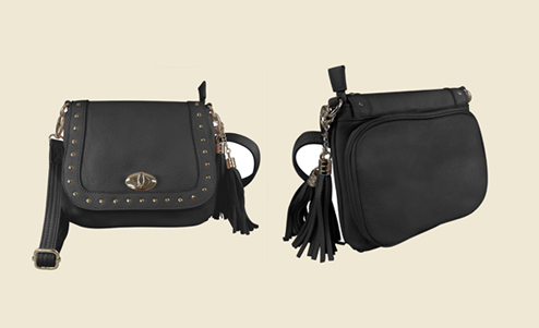Our Womens Studded Tassel black Leather Concealed Carry Purse with Holster has an actual pistol Holster that means no printing on your purse. Know the difference!