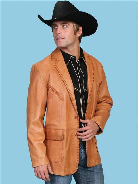 This Mens Scully Ranch Tan Italian Lamb Leather western blazer has vintage reverse smile detail on chest. whip stitch treatment on front and lapels, detail stitching on flap pockets with Acetate lining and 2 inside pockets.