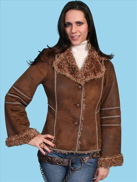 This Womens Brown Curly fur western coat by Scully is Soft and luxurious faux fur jacket with faux fur collar and two hidden side entry pockets made of faux suede that is 100% polyester and the luxurious faux fur trim and lining 100% acrylic.