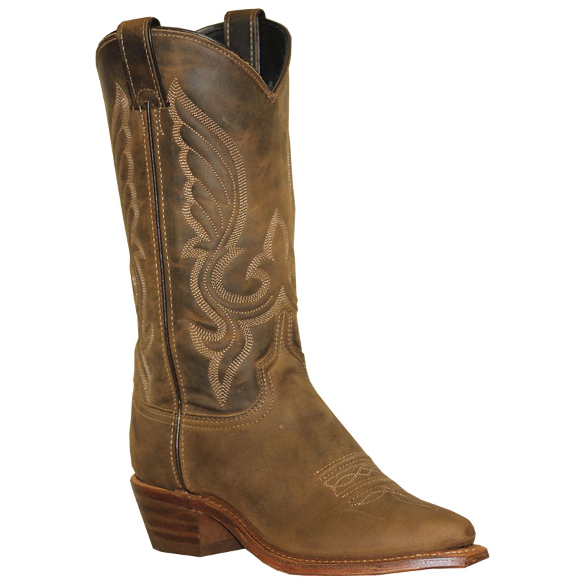 Womens Leather Embroidered Brown Cowgirl Boots - U.S.A.
