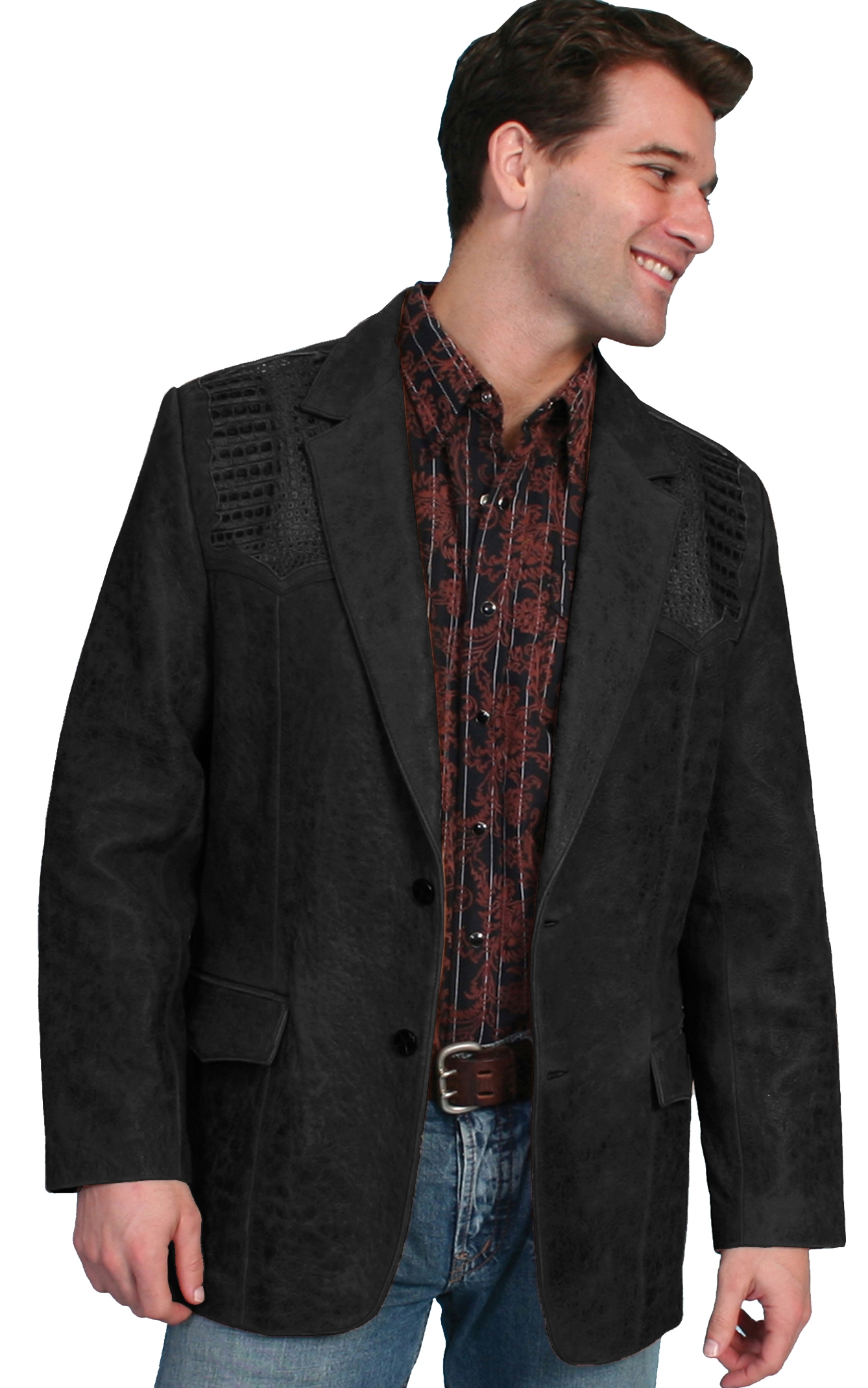 This Mens Lambskin and Caiman Black Scully western blazer has real caiman which is hand sewn in the USA to this western lambskin leather coat for men who love that cowboy look dress coat.
