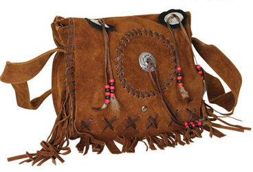 This native american Indian style handbag is made of genuine leather with long through over your shoulder straps and fashionable beads bones and feathers complete with conchos and fringe on this suede leather purse.