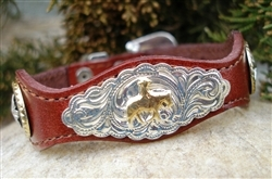 This Silver Horse Concho Brown Leather Western Bracelet is made in the USA with sterling silver and gold plated center with rhinestone studded accents and a silver belt buckle closure a real cute cowgirl look.
