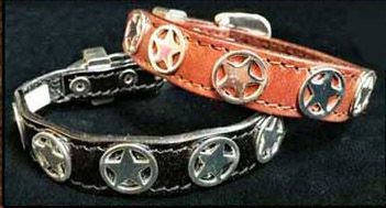 This Silver Western Star Leather Cowboy Bracelet is made in the USA with sterling silver and gold plated center with rhinestone studded accents and a silver belt buckle closure a real cute cowgirl or cowboy look.