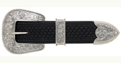 "This Sterling Silver 3 Piece 1.5"" Belt Buckle Set is a great addition to your 1-1/2"" cowboy belt made of beautiful etched Sterling silver plated for any western cowboy."