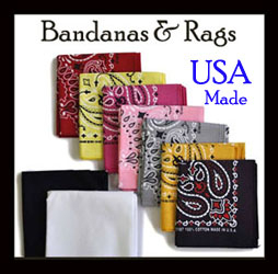 The Wild Cowboy has Western Bandanas Dew Rags Scarves that are made in the USA made in 100% cotton fabric in many colors such as blue paisley white red green paisley pink and even mossy oak camo bandannas.