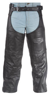 Black Naked Black Leather Pocket Chaps
