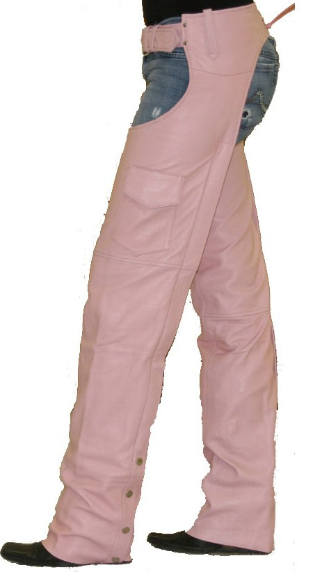 Solid Pink leather chaps