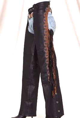 These studded brown accent leather chaps with fringe are for either men or women with brown and black fringe and silver studs make these leather chaps both functional and fashionable in a western chap or biker chaps.