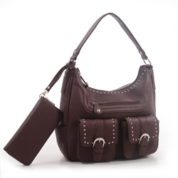 """Bree"" brown Hobo Concealed Carry Western Purse with Wallet is perfect for any womens concealed gun needs"