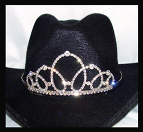 This Cinderella Crystal Clear Rhinestone Cowboy hat tiara is made in the USA for the the rodeo princess queen or any other horse drill team rodeo event. This is a unique crown for a cowboy hat that stands out in horse shows