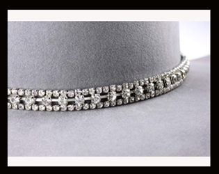 The 3 Row Large Sterling Rhinestone Cowboy Hat Band is hand made with genuine rhinestones also is Sterling Silver plated that really adds style to any cowboy or cowgirl hat a great rodeo show stopper.