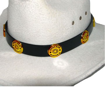 This gold Shotgun Shell Black Leather Cowboy Hat Band has gun shell conchos on a real leather band with silver buckle end tip and keep for any shooting cowboy or cowgirl.
