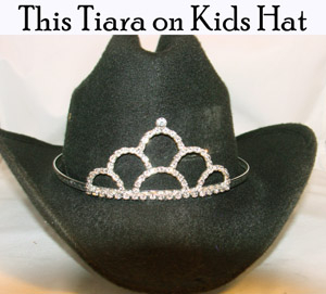 """Loping Loops"" Rhinestone Cowboy hat tiara is proudly made in the USA for the miss princess of the rodeo to be crowned by this cowboy hat tiara is an exciting look an any cowgirl competing to be the horse show winner."