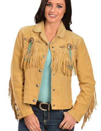 This Ladies Tan boar suede western jacket by Scully has beads, studs, and conchos, this western jacket has style. Made from boar suede with fringe on the front, back and closes with a 5-button front