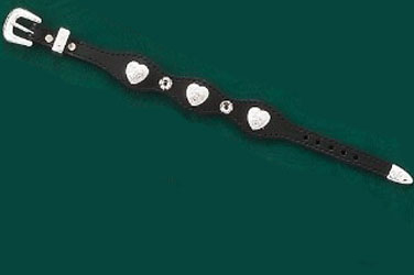 This Silver Heart Black Leather Western Bracelet is made in the USA with sterling silver plated conchos and rhinestone studded accents and a silver belt buckle closure a real cute cowgirl look.