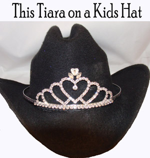 "This ""Sweetheart"" Rhinestone Cowboy hat tiara USA made fits all sizes cowboy hats Rodeo Queen cowgirl hat tiara needs made of rhinestones perfect for the rodeo crown on a cowboy hat for the princess tiara cowgirl."