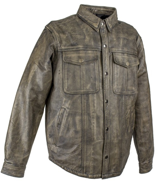 Mens Distressed Brown Leather Concealed Carry Shirt Jacket