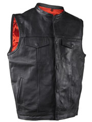 Mens Black Leather Banded Collar Concealed Carry Snap Front Vest