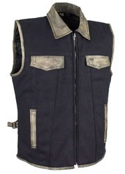 Mens Black Canvas Zip Up CCW Vest with Distressed Leather Trim