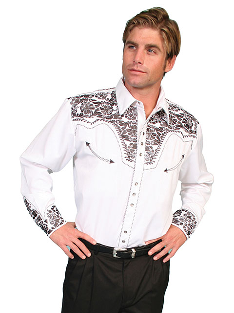 "This ""Pewter Gunfighter"" Mens Scully Gray Embroidered Western Shirt is a western favorite with the beautiful vintage smiley pockets and retro floral embroidered yoke complete with pearl snaps a great western wedding cowboy shirt for men."