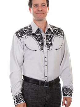 This Mens Scully Gunfighter Embroidered Steel Gray Western Shirt is a beautiful vintage smiley pockets and retro floral embroidered yoke complete with pearl snaps a great western wedding cowboy shirt for men.