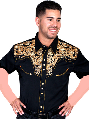 This Mens Scully Gold Embroidered Short Sleeve Western Shirt Shirt is a western favorite with the beautiful vintage smiley pockets and retro floral embroidered yoke complete with pearl snaps.