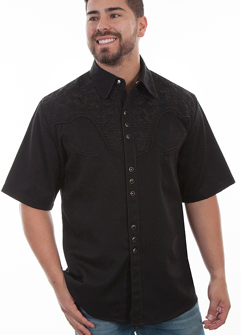 This Mens Scully Black Short Sleeve Embroidered Western Shirt is a western favorite with the beautiful vintage smiley pockets and retro floral embroidered yoke complete with pearl snaps to make this a great cowboy shirt.