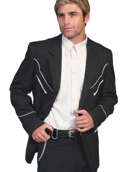 "This ""Black Remington"" Mens Scully Black Western Blazer is the retro western cowboy look for that guy that loves vintage western wear with white piping and smiley pockets even looks great in a wedding."