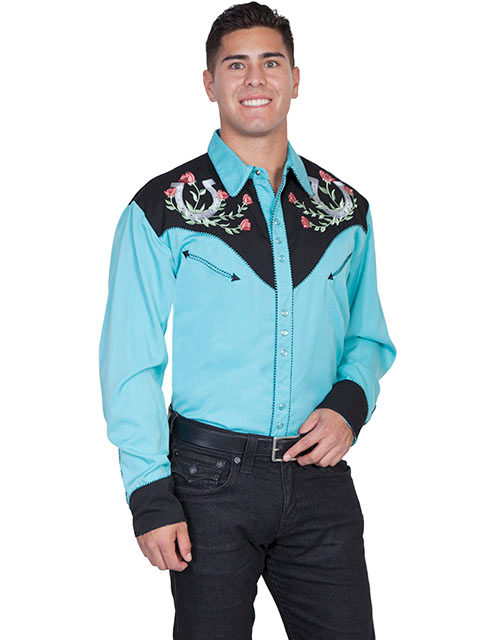 "This ""Winners Circle"" Mens Turquoise Western shirt by Scully is a western favorite with the beautiful vintage smiley pockets and retro floral embroidered yoke complete with pearl snaps a great western cowboy shirt for men."