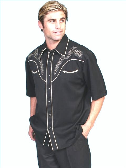 """Boot Stitch"" Mens MEDIUM Short Sleeve Black western shirt"