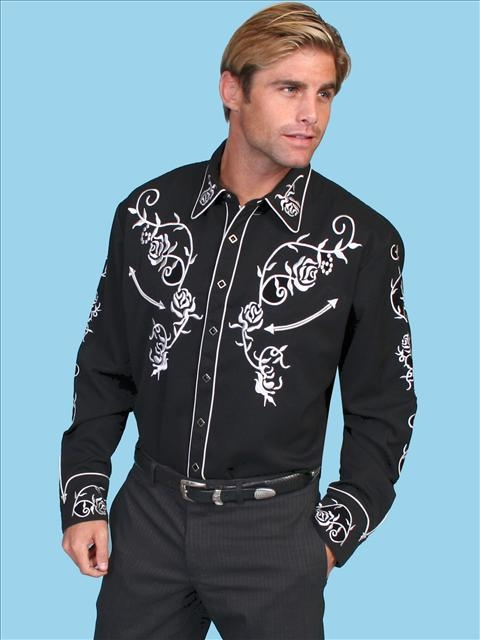 "This Mens ""Ponderosa"" Black western shirt by Scully has embroidered white roses on Front and back yokes and down the sleeves with matching embroidered sleeve cuffs and diamond pearl snaps"