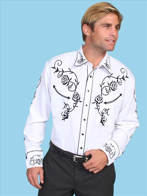 "This ""Ponderosa"" Mens White western shirt by Scully has embroidered roses with piping and smiley pockets closed up with matching pearl snaps and is available in womens for his and hers matching western shirts"