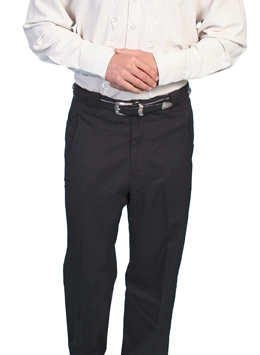 These Mens Jet Black Western dress pants with smile pockets are a retro style dress pant with the vintage smiley pocket in the pants with that true western flare in a mens size 30 pant.