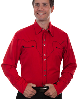 This Mens Scully Rockabilly Piped Red Western Shirt is a retro throwback vintage cowboy shirt with the smiley pockets and diamond pearl snaps in a classic twisted piping made to last forever.