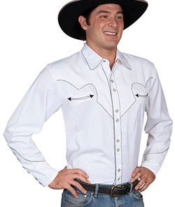 This Mens Scully Rockabilly Black Piped White Western Shirt is a retro throwback vintage cowboy shirt with the smiley pockets and diamond pearl snaps in a classic twisted piping made to last forever.