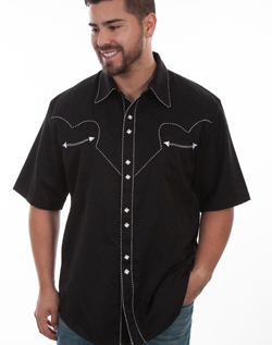 This Mens Scully Rockabilly White piped black Short Sleeve Shirt is a retro throwback vintage short sleeve cowboy shirt with the smiley pockets and diamond pearl snaps in a classic twisted piping made to last forever.