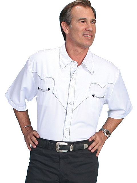 This Mens Scully Rockabilly Black piped White Short Sleeve Shirt is a retro throwback vintage short sleeve cowboy shirt with the smiley pockets and diamond pearl snaps in a classic twisted piping made to last forever.
