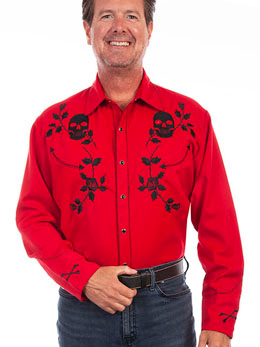 This Mens Scully Men's Crimson Red Skull n Roses Western Shirt is a rare find with skulls bones and roses on a cowboy shirt with pearl snaps embroidery Smiley pockets vintage piping stylish mens western shirt.