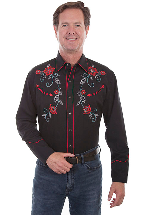 The Men's Scully Red Floral Embroidered Black Western Shirt has gray and turquoise vines and red floral embroidered with pearl snaps and smiley pockets. Vintage piping makes this a stylish mens cowboy shirt.
