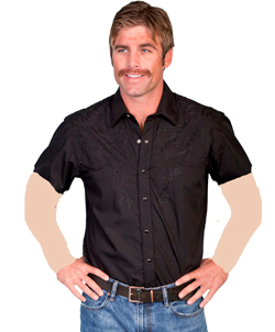 Men's Short sleeve Scully Tonal Western Embroidered Black Western Shirt