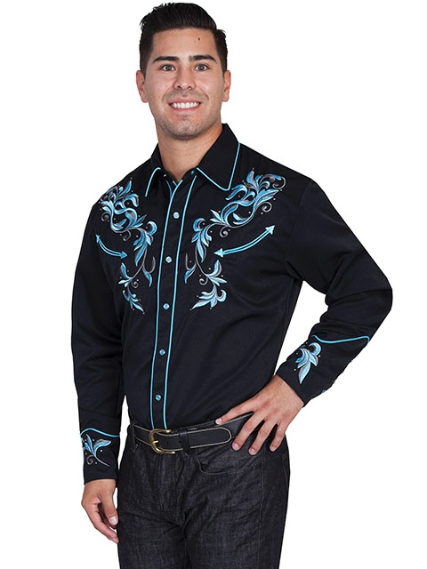 Mens Scully Studded Bule and Black Embroidered Western Shirt, western shirt for men, scully retro shirt, vintage shirt, retro shirt, scully,