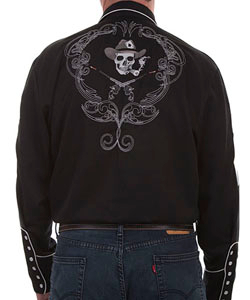 This Mens Scully Black Western Shirt features many detailed designs on this pearl snap retro western shirt. Western guns front with piped yokes and embroidered aces on the sleeves with a large cigar smoking skull head in the back.