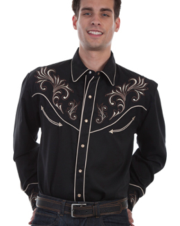 This Mens Scully Black and Brown Scroll Embroidered Western Shirt is a western favorite with the beautiful vintage smiley pockets and retro floral embroidered yoke complete with pearl snaps a great cowboy shirt for men.