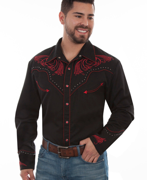 This Mens Scully Red Bold Embroidered Black Studded Western Shirt has antique studs and vintage smiley pockets with retro embroidered yoke complete with pearl snaps a great western cowboy shirt for men.