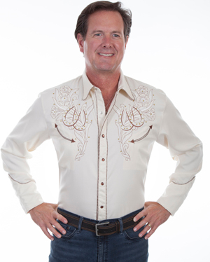 "This""Double the Luck"" Horseshoe Mens Scully Western Shirt features embroidered horse shoes with brown twisted retro piping and gold studs, real country western shirt also in womens to match."